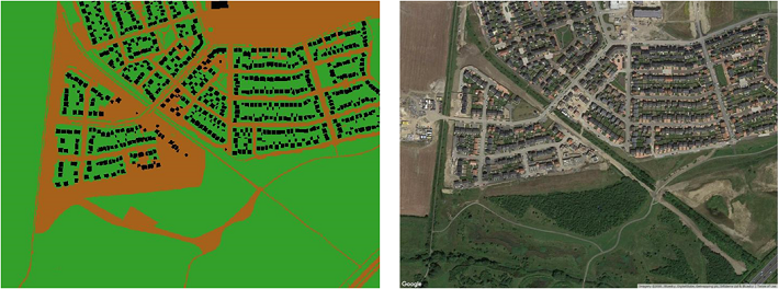 Newcastle Great Park Development with SUDS. Land cover derived from OS Topography Layer (left hand panel) and Google Map image of the area (right hand panel).